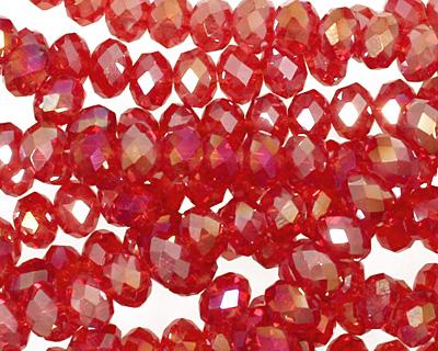 Light Garnet AB Crystal Faceted Rondelle 6mm