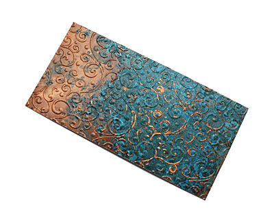 Lillypilly Azul Scrolling Vine Embossed Patina Copper Sheet 3