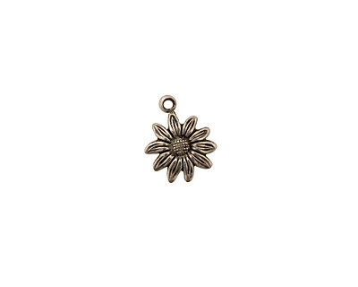 Stampt Antique Pewter (plated) Tiny Sunflower Charm 9x12mm