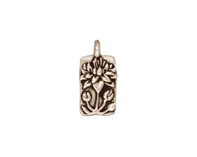 TierraCast Antique Silver (plated) Floating Lotus Charm 9x17mm