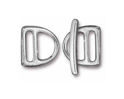TierraCast Rhodium (plated) 10mm Slotted D Ring Clasp Set 14x15mm, 21mm bar