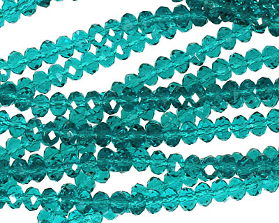 Teal Crystal Faceted Rondelle 4mm
