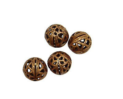 Stampt Antique Copper (plated) Filigree Ball 8mm