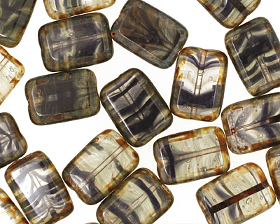 Czech Hurricane Glass Rustic Bonaza Rectangle 12x8mm