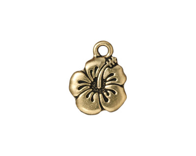 TierraCast Antique Gold (plated) Hibiscus Charm 14x18mm