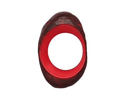Tagua Nut Red Open Slice (side drilled) 33-45x24-36mm