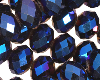 Metallic Cosmos Crystal Faceted Rondelle 14mm