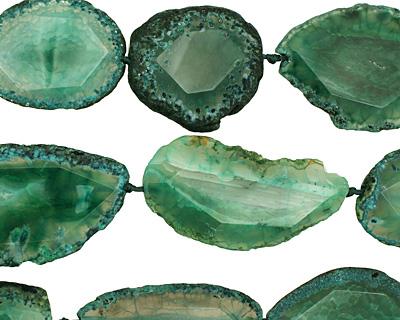 Ocean Green Agate Natural Edge Freeform Faceted Slab 44-69x28-40