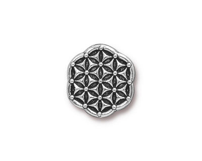 TierraCast Antique Silver (plated) Flower Of Life Button 16mm