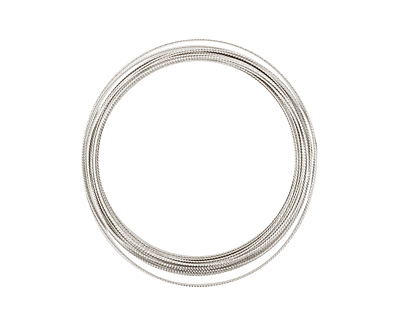 German Style Wire Silver (plated) Fancy Round 22 gauge, 5 meters