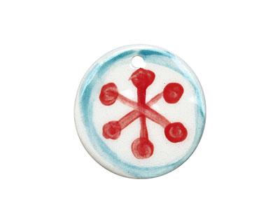 Jangles Ceramic Red Snowflake Pendant 34-35mm
