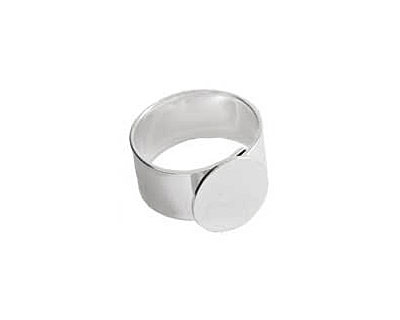 Nunn Design Sterling Silver (plated) Small Circle Adjustable Ring 13mm