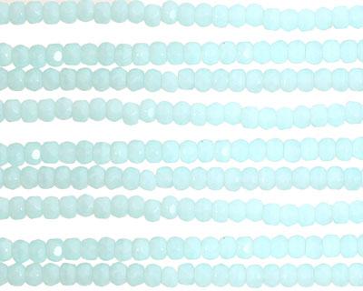 Czech Glass Diamond Aquamarine Fire Polished Rondelle 2x3mm