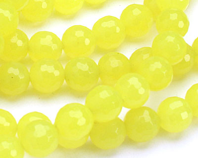 Neon Yellow Colorful Jade Faceted Round 8mm