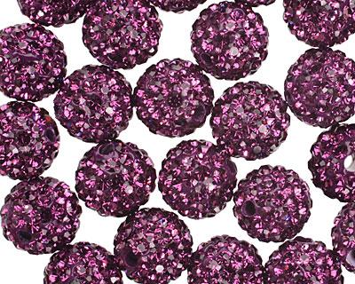Amethyst Pave (w/ Preciosa Crystals) Round 10mm