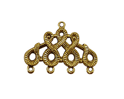 Stampt Antique Gold (plated) Scrolling 4 Ring Connector 28x20mm