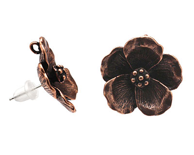 Ezel Findings Antique Copper (plated) Pansy Earring 19mm