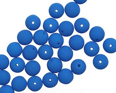 Czech Glass Dark Neon Mykonos Blue Round 6mm