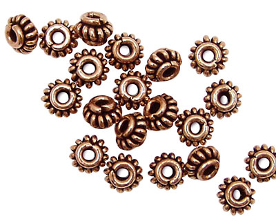 Antique Copper Coiled Rondelle 4x6mm