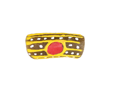 African Handpainted in Red/Saffron/White Circles & Stripes on Brown Powder Glass (Krobo) Bead 19-26x10-11mm
