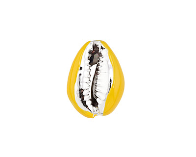 Goldenrod Enamel on Silver Finish Cowrie Shell 14-17x19-25mm
