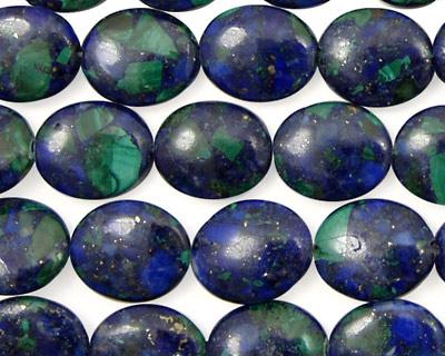 Azurite Malachite Flat Oval 10x8mm