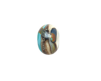 Grace Lampwork Turquoise Silver w/Ivory Rondelle 9x14mm