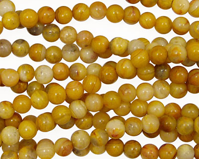 Crazy Lace Agate (yellow) Round 4mm