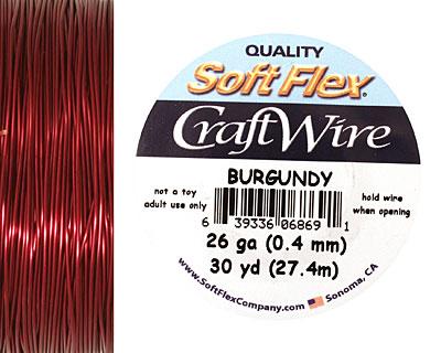 Soft Flex Burgundy Craft Wire 26 gauge, 30 yards