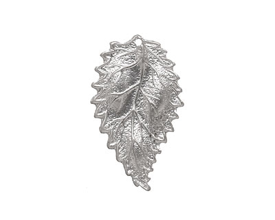 Ezel Findings Rhodium (plated) Sesae Leaf 16x27mm