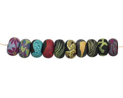 Humble Beads Polymer Clay Midnight Garden Disk 6x10-11mm