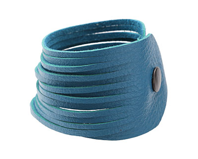 The Lipstick Ranch Turquoise Shredded Leather Cuff Bracelet 2