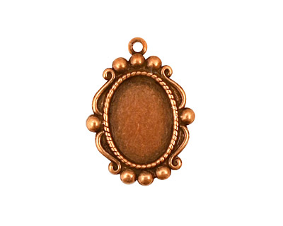 Stampt Antique Copper (plated) Looking Glass Oval Setting 10x14mm