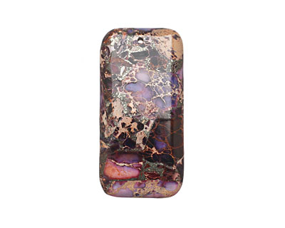 Purple Impression Jasper & Pyrite Rectangle Pendant 30x60mm