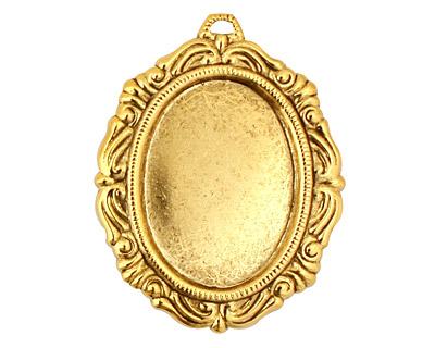 Stampt Antique Gold (plated) Damask Frame Oval Setting 18x25mm