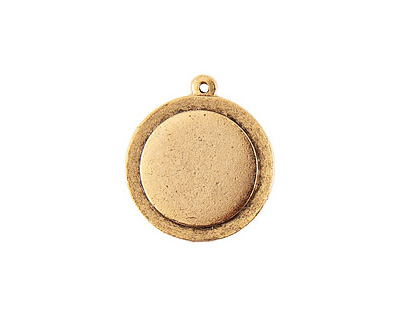 Nunn Design Antique Gold (plated) Raised Tag Small Circle Pendant 25x29mm