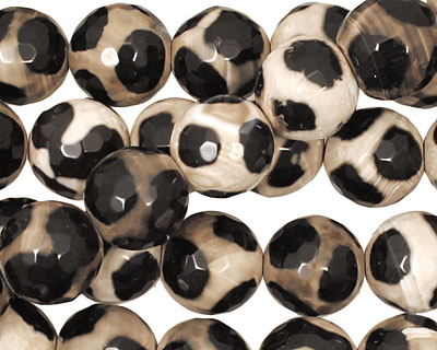 Black Spotted Agate Faceted Round 12mm