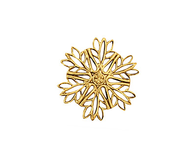 Stampt Antique Gold (plated) Snowflake Filigree 19mm