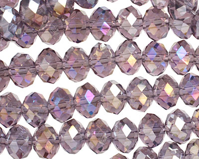 Light Amethyst AB Crystal Faceted Rondelle 8mm