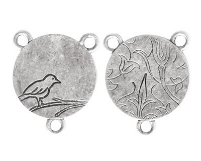 Nunn Design Antique Silver (plated) Small Circle Bird 2-1 Connector 24x20mm