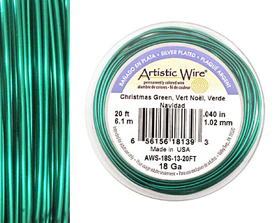 Artistic Wire Silver Plated Christmas Green 18 gauge, 20 feet