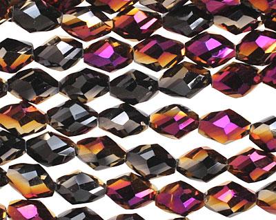 Metallic Gold Raspberry & Jet Twisted Crystal Rice 8x6mm