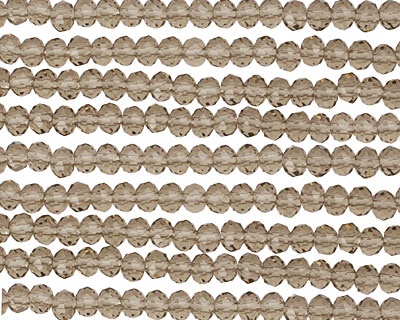 Smoky Crystal Faceted Rondelle 3mm
