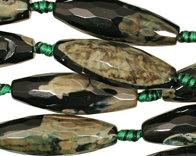 Black & Camo Green Agate Faceted Rice 29-30x10mm