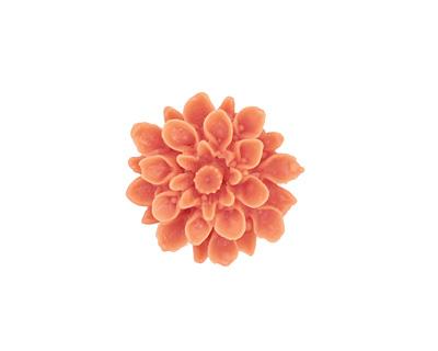 Opaque Coral Lucite Dahlia Flower Cabochon 16mm