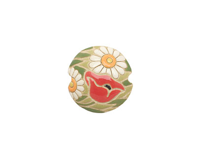 Golem Studio Poppy Meadow Carved Ceramic Lentil 23mm
