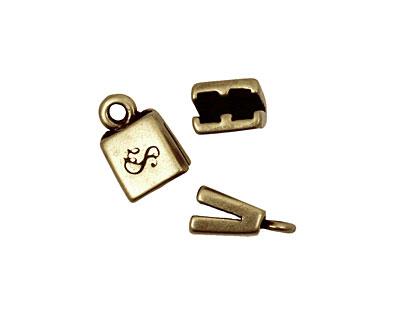 SilverSilk Antique Brass (plated) Double Strand End Cap 13x8mm
