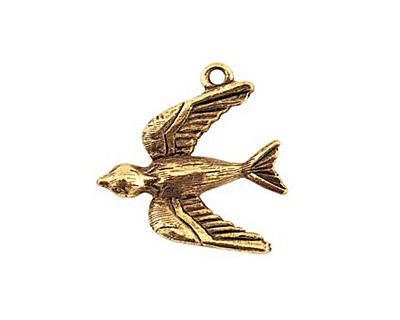 Nunn Design Antique Gold (plated) Bird Charm 20x22mm