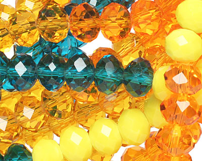 Sunny Skies Crystal Mix Faceted Rondelle 8mm