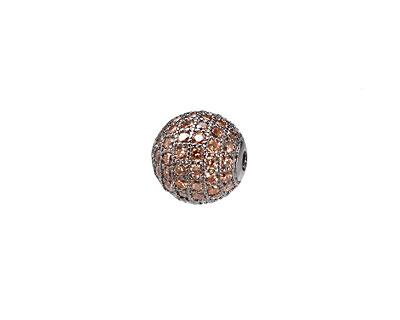 Gunmetal & Light Peach CZ Micro Pave Round 10mm